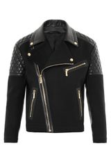 Versace Leather and Wool Biker Jacket - Lyst