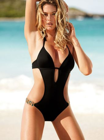 Victoria's Secret Wireless Pushup Monokini Black M - Lyst