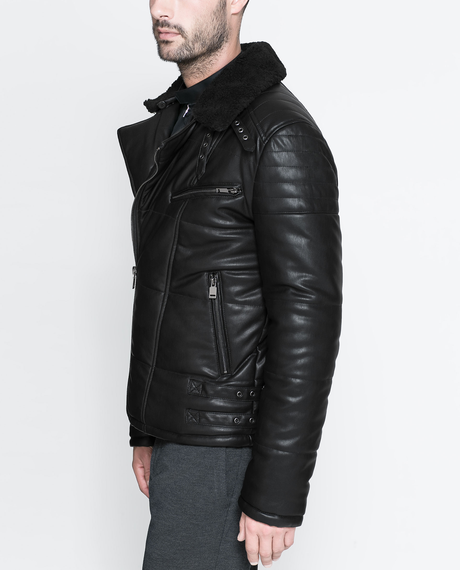 Zara Biker Jacket with Sheepskin Collar in Black for Men | Lyst