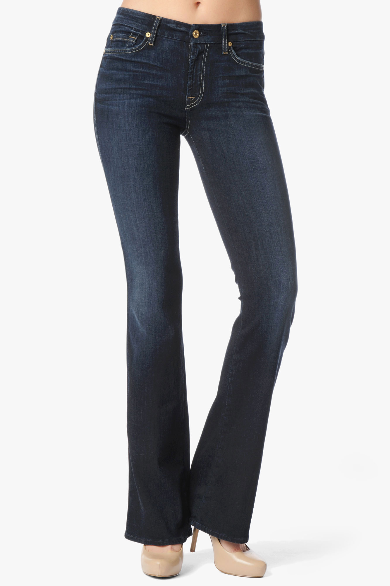 7 for all mankind midrise kimmie contour bootcut in blue black night lyst. Black Bedroom Furniture Sets. Home Design Ideas