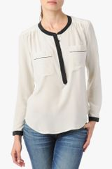 7 For All Mankind Contrast Tipped Henley Blouse - Lyst