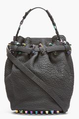 Alexander Wang Black Rubberized Leather Iridescent Diego Bucket Bag - Lyst