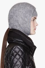 Alexander Wang Grey Mohair Ribbed Hooded Snood and Headband - Lyst
