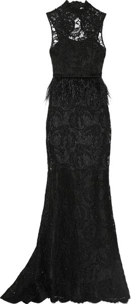 Alice Olivia Jessica Embellished Lace Gown In Black Lyst