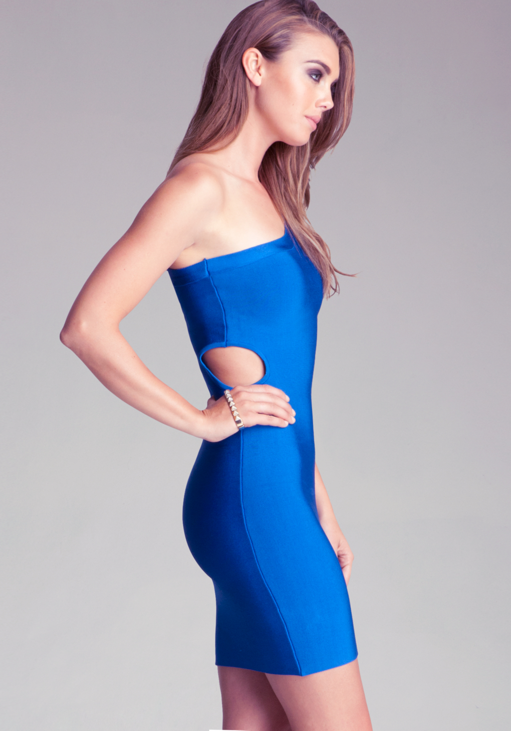 Bebe blue cut out dress
