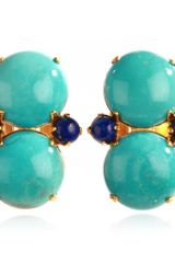 Bounkit Turquoise Double Button Earrings - Lyst
