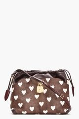 Burberry Prorsum Burgundy Heart Print Calf-hair Drawstring Shoulder Bag - Lyst