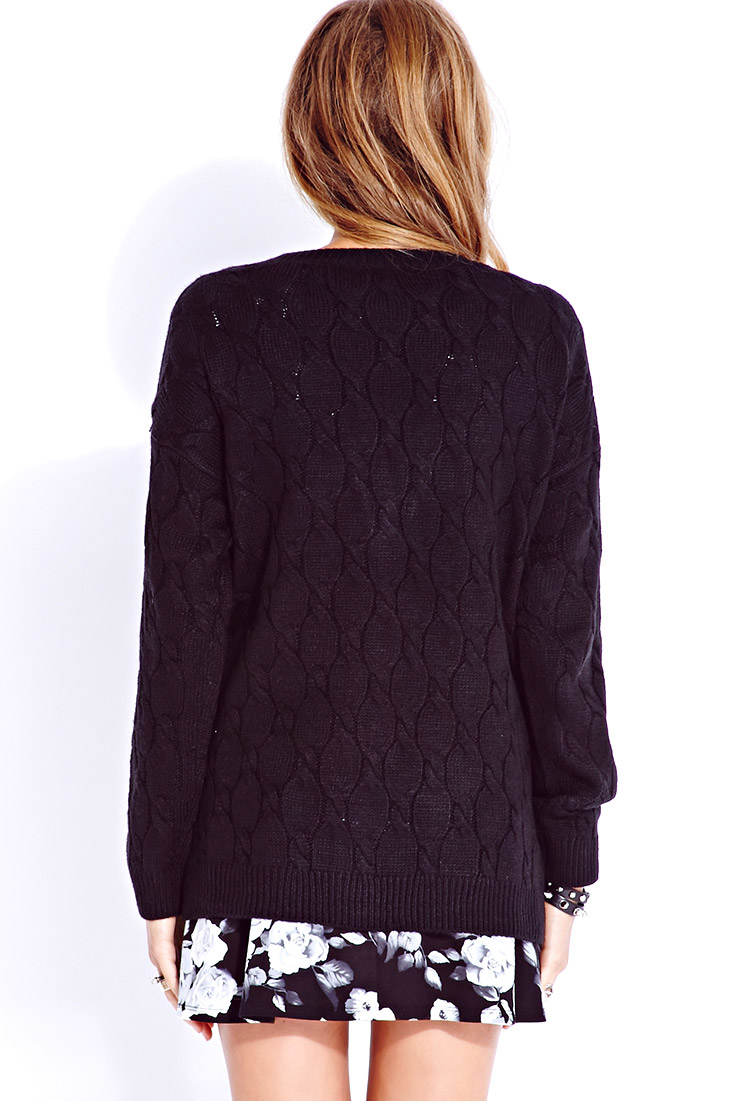 Forever 21 Cable-Knit Boyfriend Cardigan in Black | Lyst