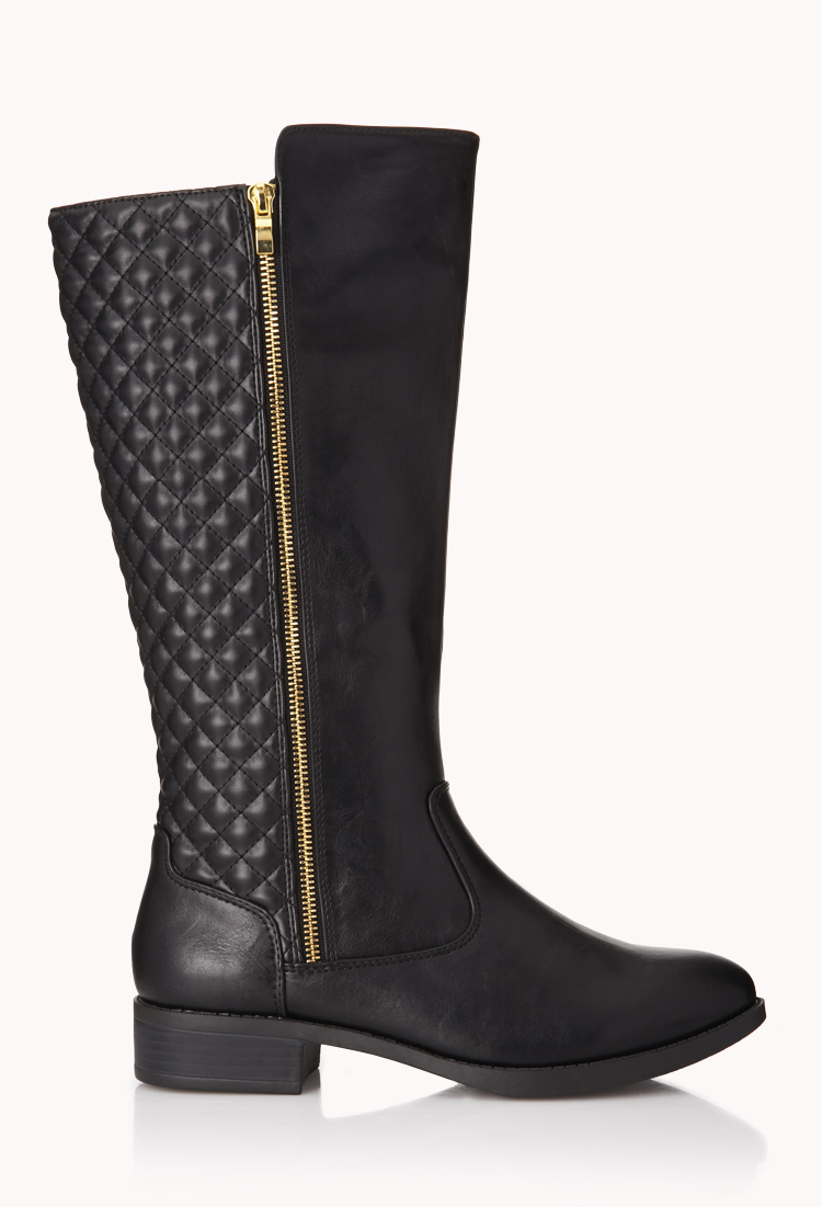 Lyst Forever 21 Iconic Quilted Boots In Black