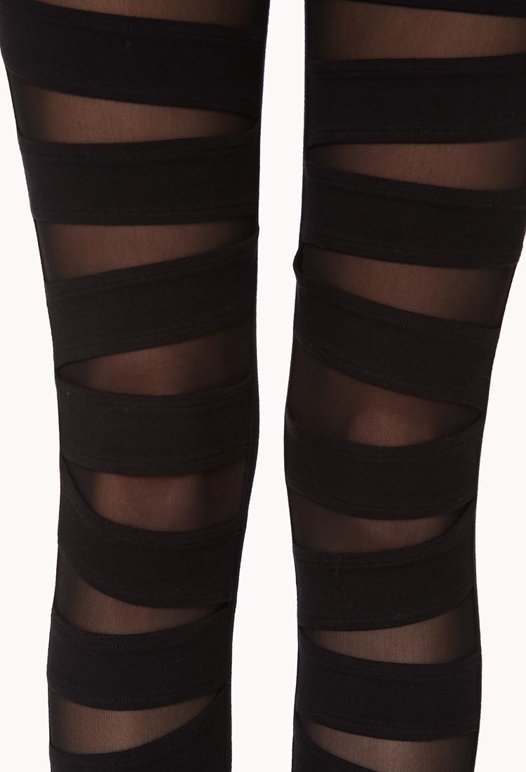 93ffe95d53c33 Forever 21 Mesh Cutout Leggings in Black - Lyst