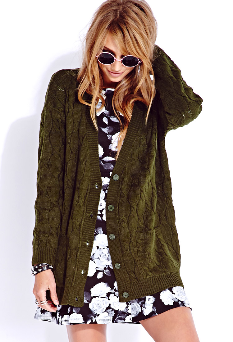 Forever 21 Cable-knit Boyfriend Cardigan in Green | Lyst
