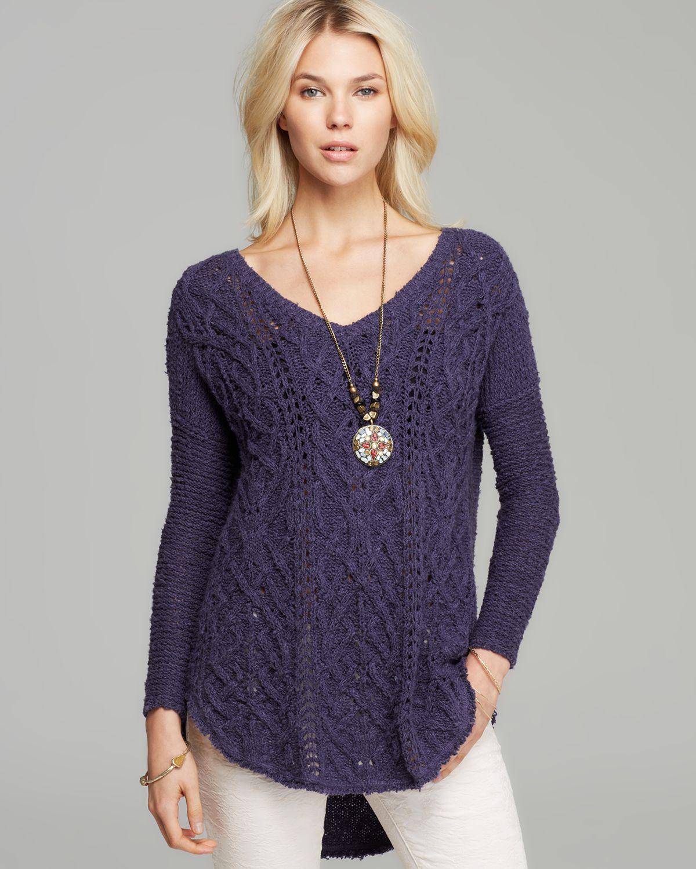 Free people Sweater Cross My Heart in Purple | Lyst