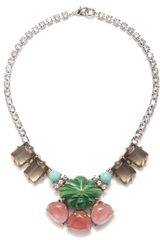 Gerard Yosca Pink Green Flower Statement Necklace - Lyst