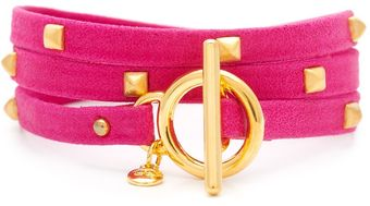 Gorjana Graham Sunset Leather Stud Bracelet Fuschia - Lyst