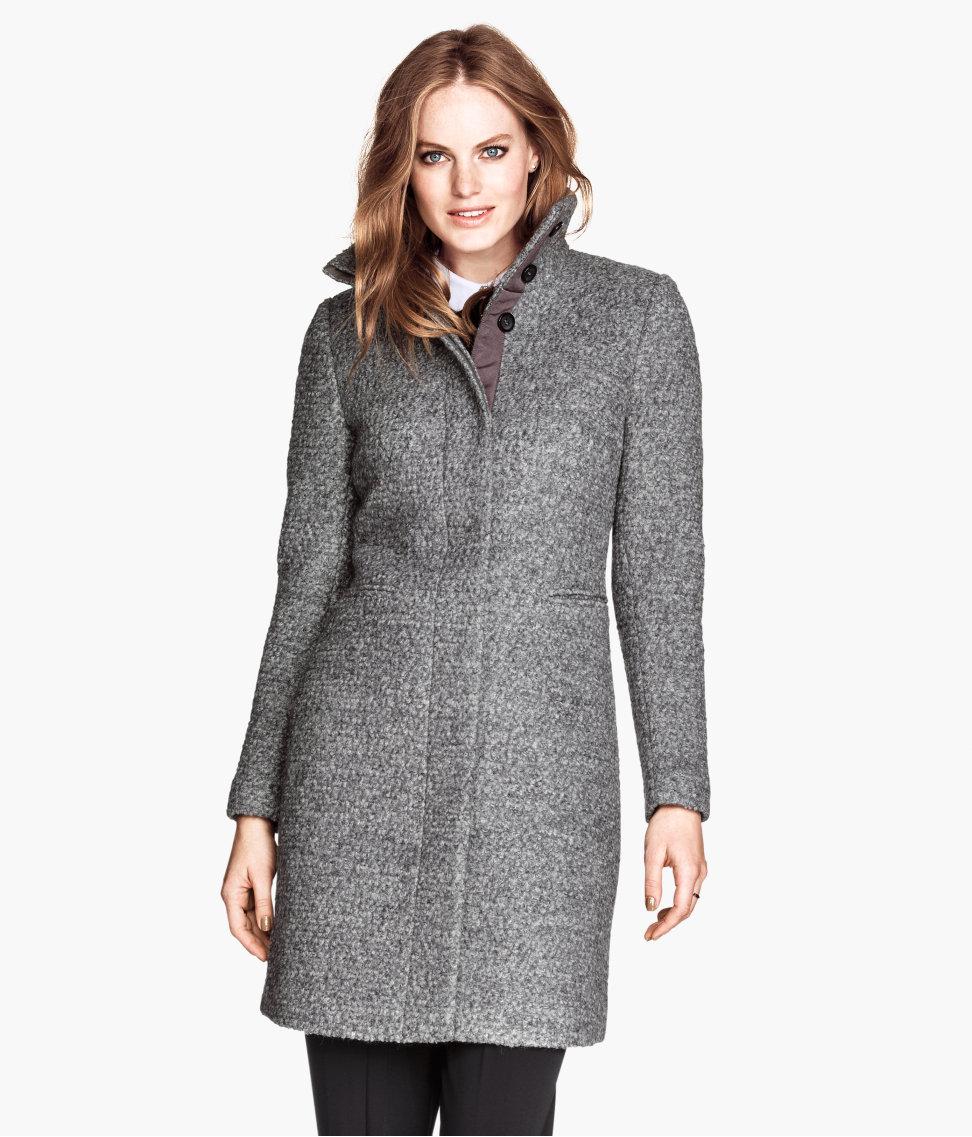 H&m Bouclé Coat in Gray | Lyst