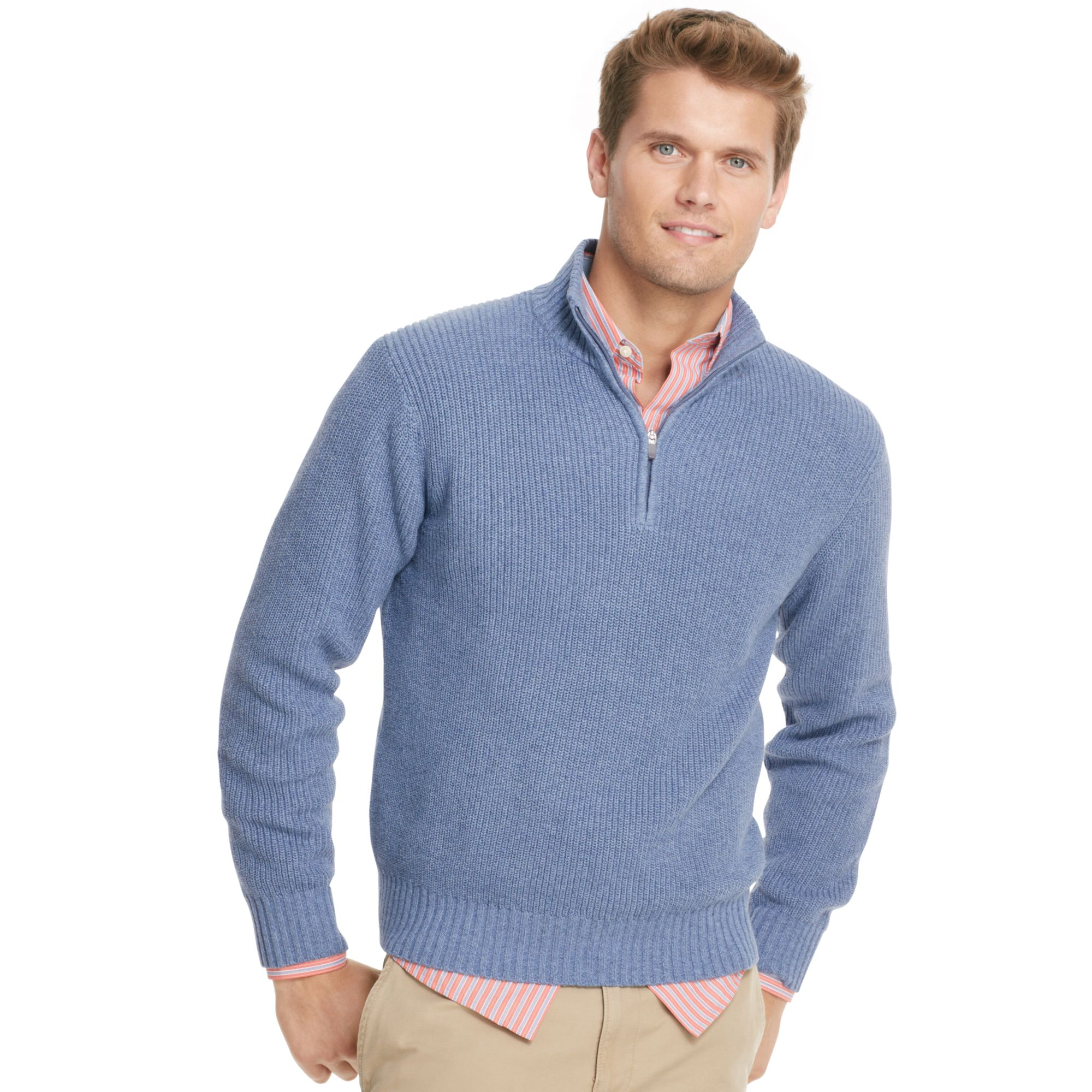 Izod Sweater Quarterzip Mock Neck Shaker Pullover in Blue for Men ...