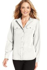Jones New York Long Sleeve Button Front - Lyst
