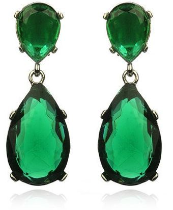 Kenneth Jay Lane Emerald Drop Earrings Silver - Lyst