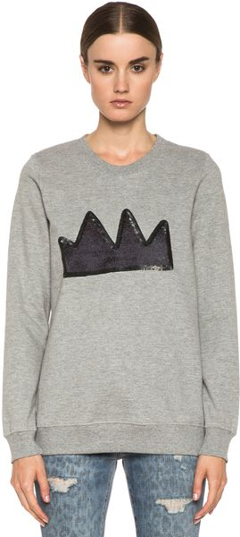 Markus Lupfer Crown Sequin Sweatshirt - Lyst