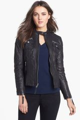 Michael by Michael Kors Leather Moto Jacket - Lyst