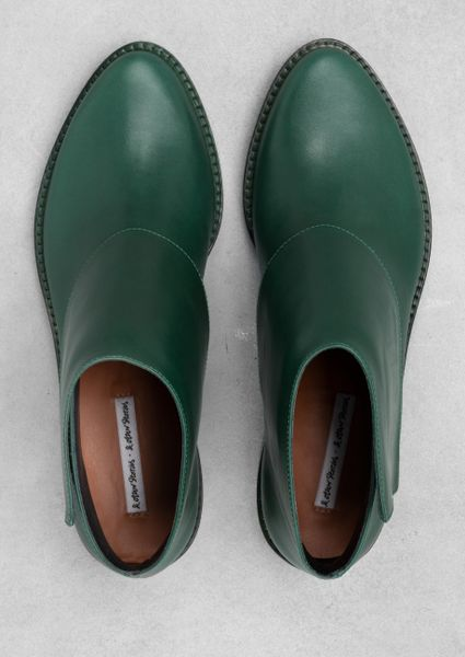 Amp Other Stories Low Heel Ankle Boots In Green Green Dark