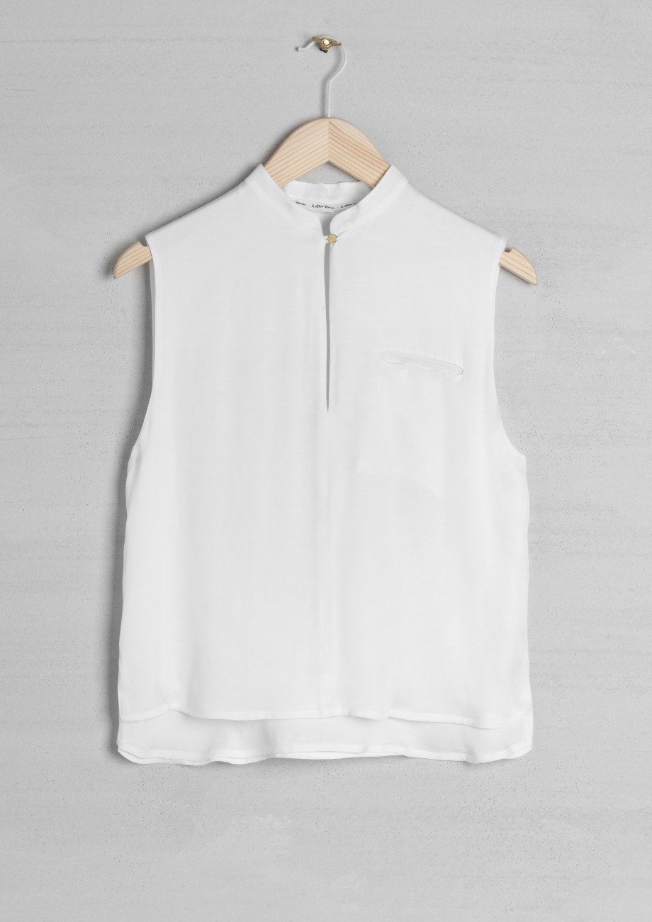 Other Stories Sleeveless Shirt With Mandarin Collar In