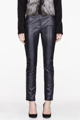 Pierre Balmain Black Leather Trumpet Pants - Lyst