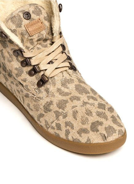 Toms Leopard Burlap Highlands Botas Laceup Boots In Animal