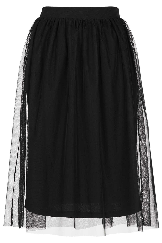 topshop black midi tulle skirt in black lyst