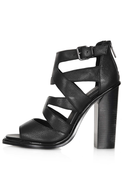 46317318163 Lyst - TOPSHOP Plato Premium Multi Strap Heels in Black
