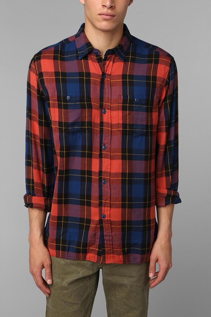 Urban outfitters Stapleford Plaid Flannel Buttondown Shirt in Blue ...