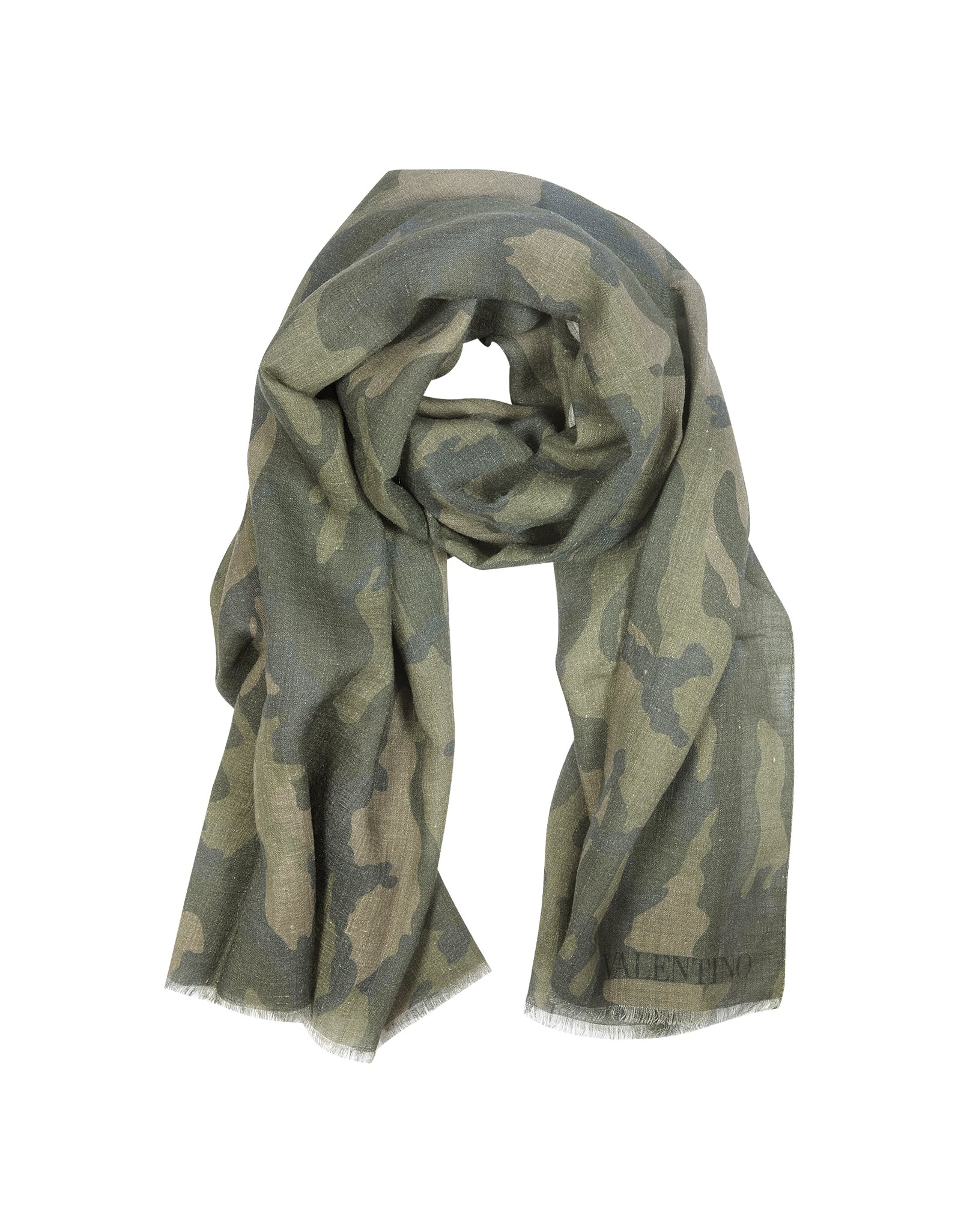 valentino camouflage print linen and silk mens scarf in