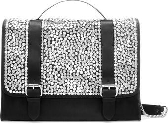 Zara Studded Leather City Bag - Lyst