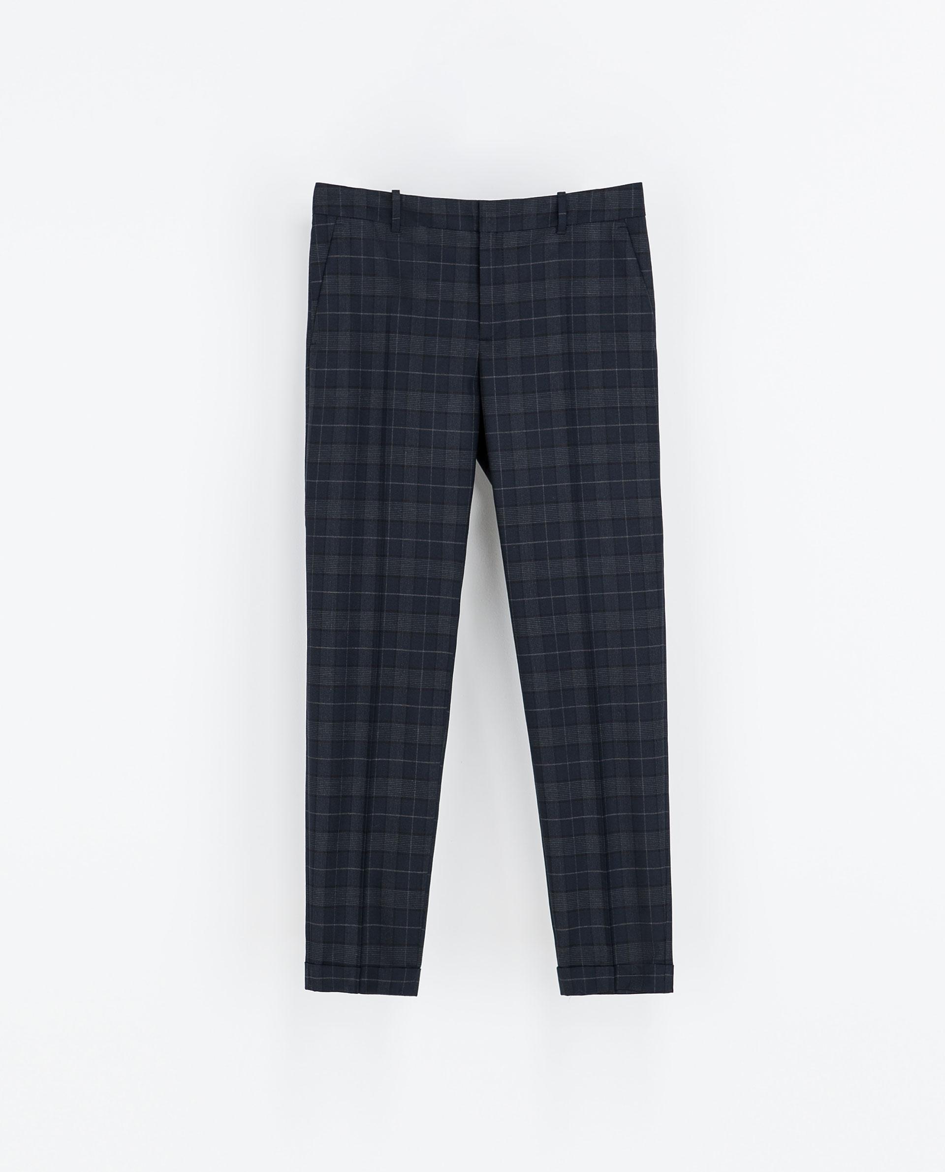 plaid pants zara - Pi Pants