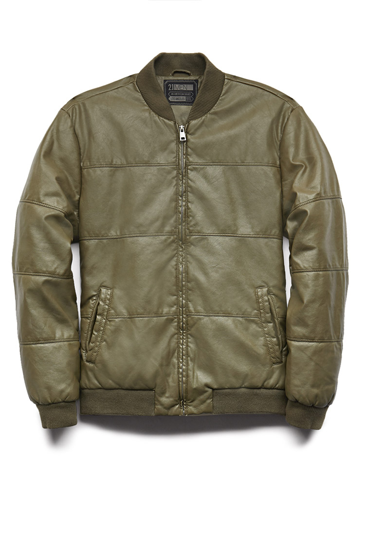 Lyst Forever 21 Faux Leather Bomber Jacket In Green For Men