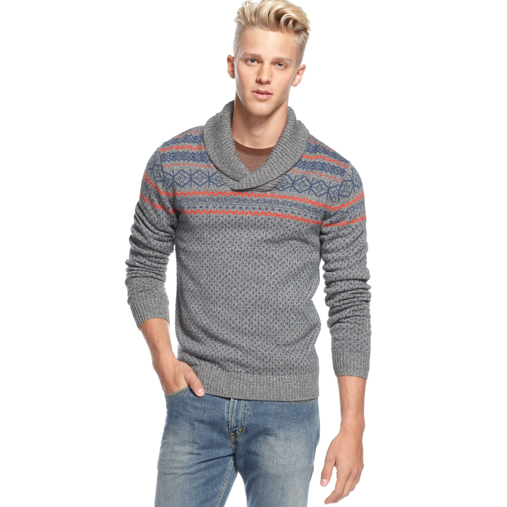 American rag Fair Isle Shawl Collar Sweater in Gray for Men | Lyst