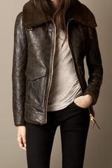 Burberry Cracked Leather Shearling Blouson - Lyst