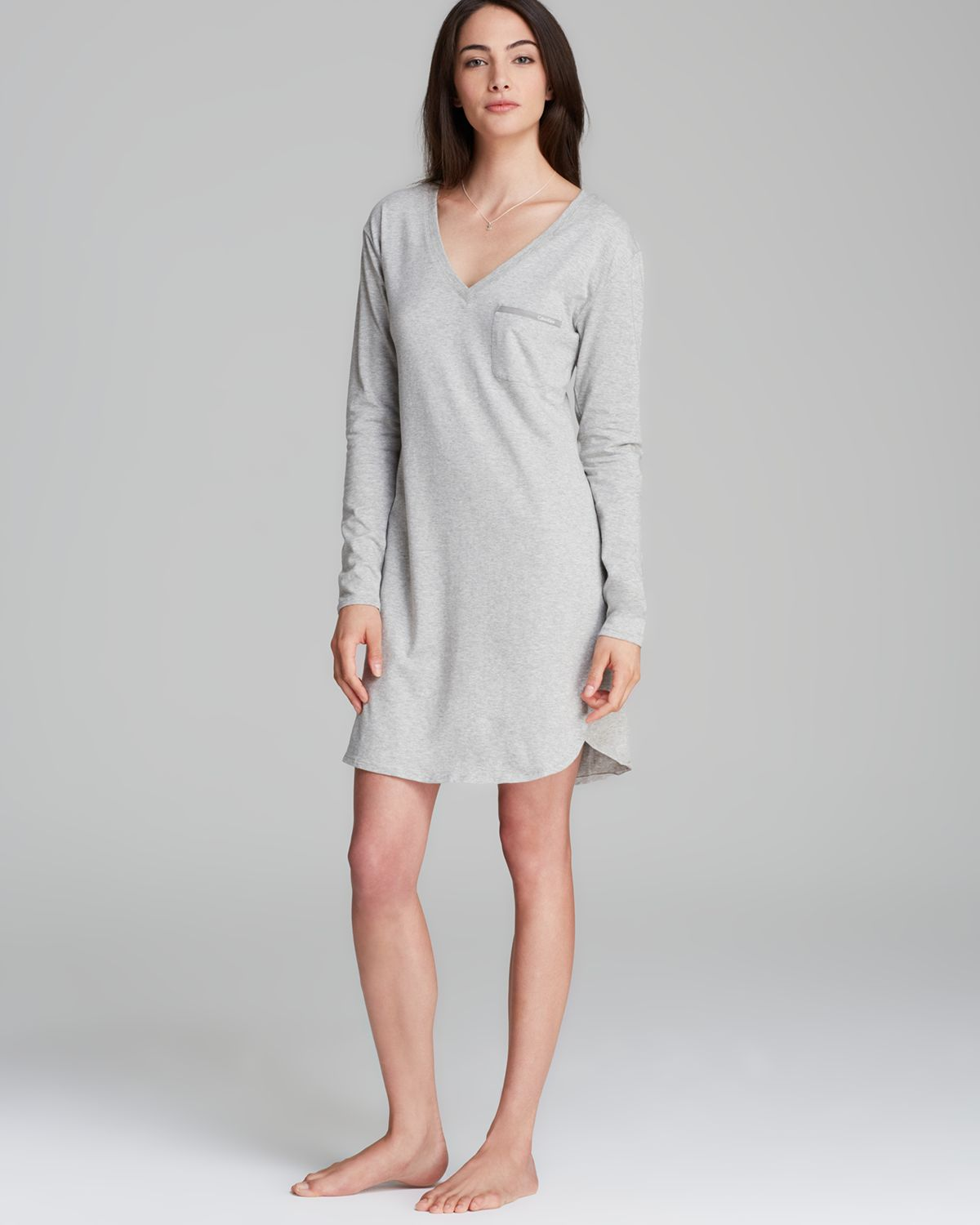 Lyst - Calvin Klein Long Sleeve Cotton Nightgown in Gray