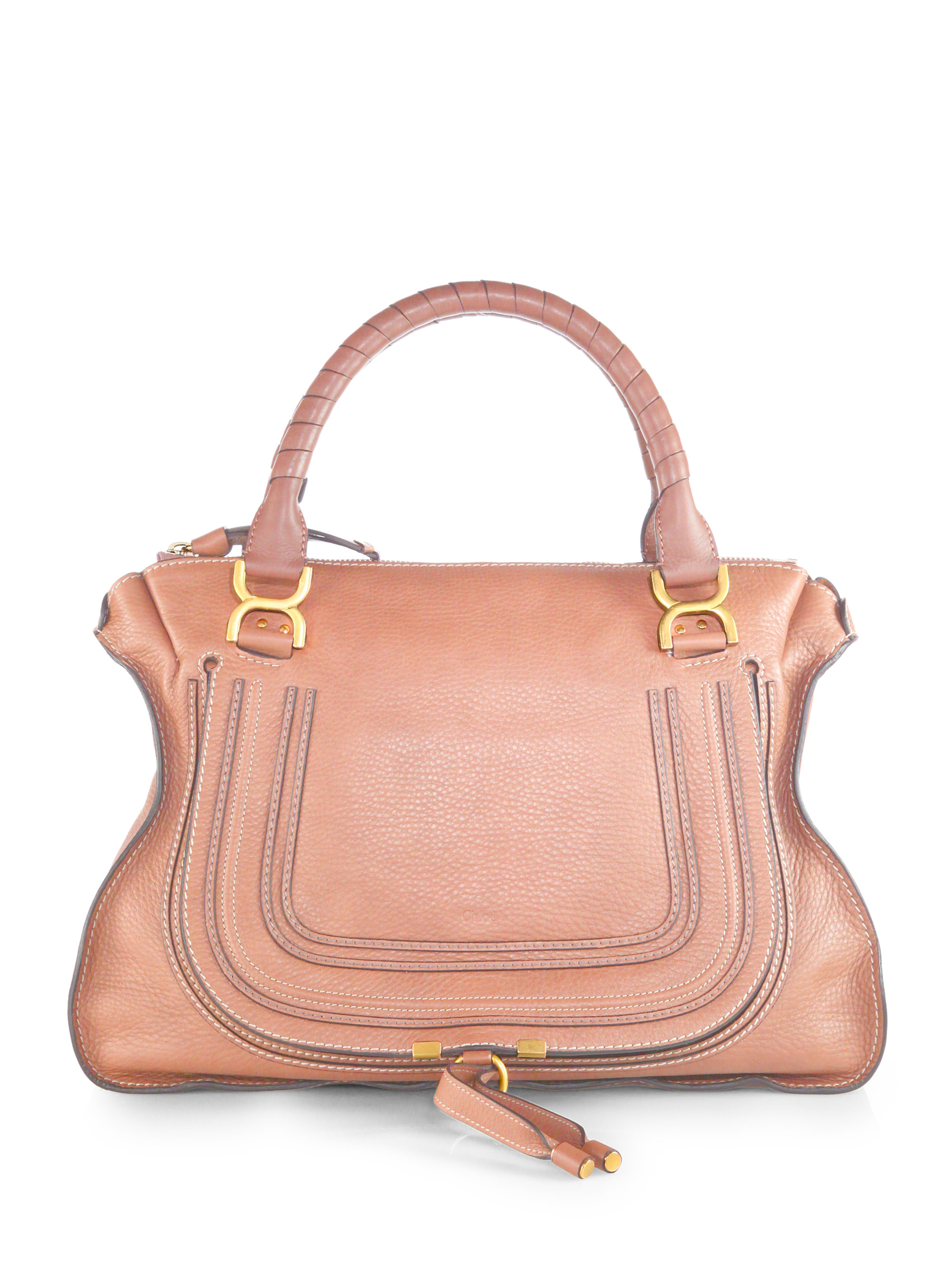 Chlo¨¦ Marcie Large Leather Satchel in Pink (ANEMONE PINK) | Lyst