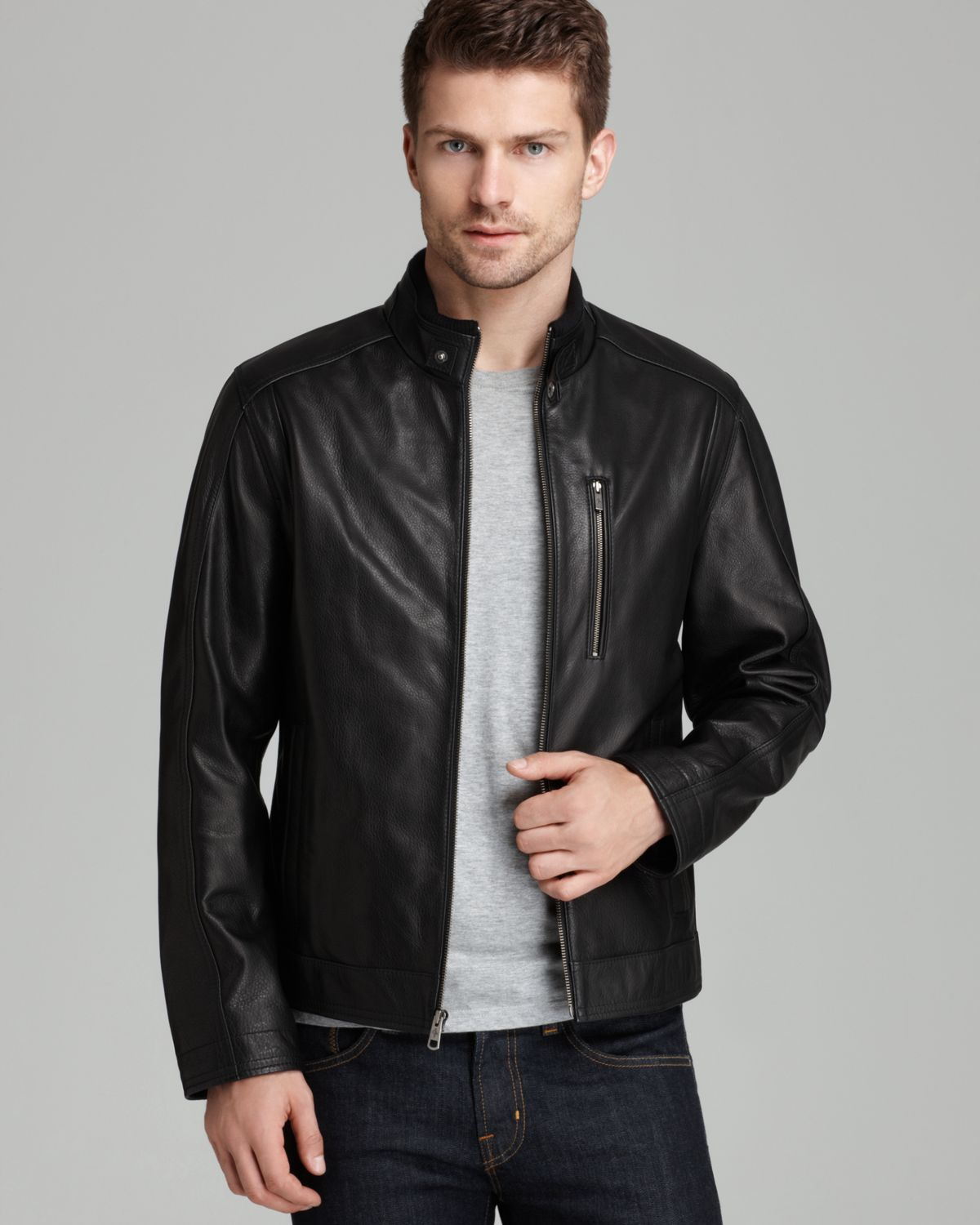 Cole haan Pebbled Leather Moto Jacket in Black for Men | Lyst