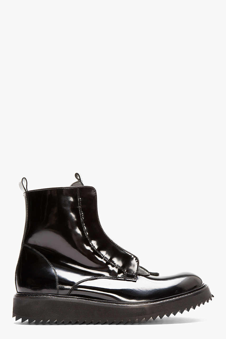 damir doma black patent leather fusco boots in black for