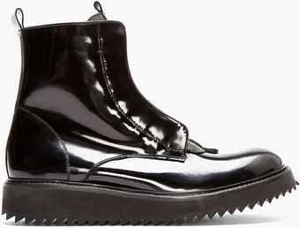 Damir Doma Black Patent Leather Fusco Boots - Lyst