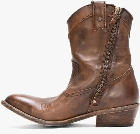 diesel brown leather korkero cowboy boots in brown for