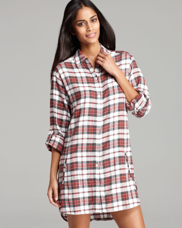 Dkny Mad For Plaid Flannel Boyfriend Sleepshirt In Red Lyst