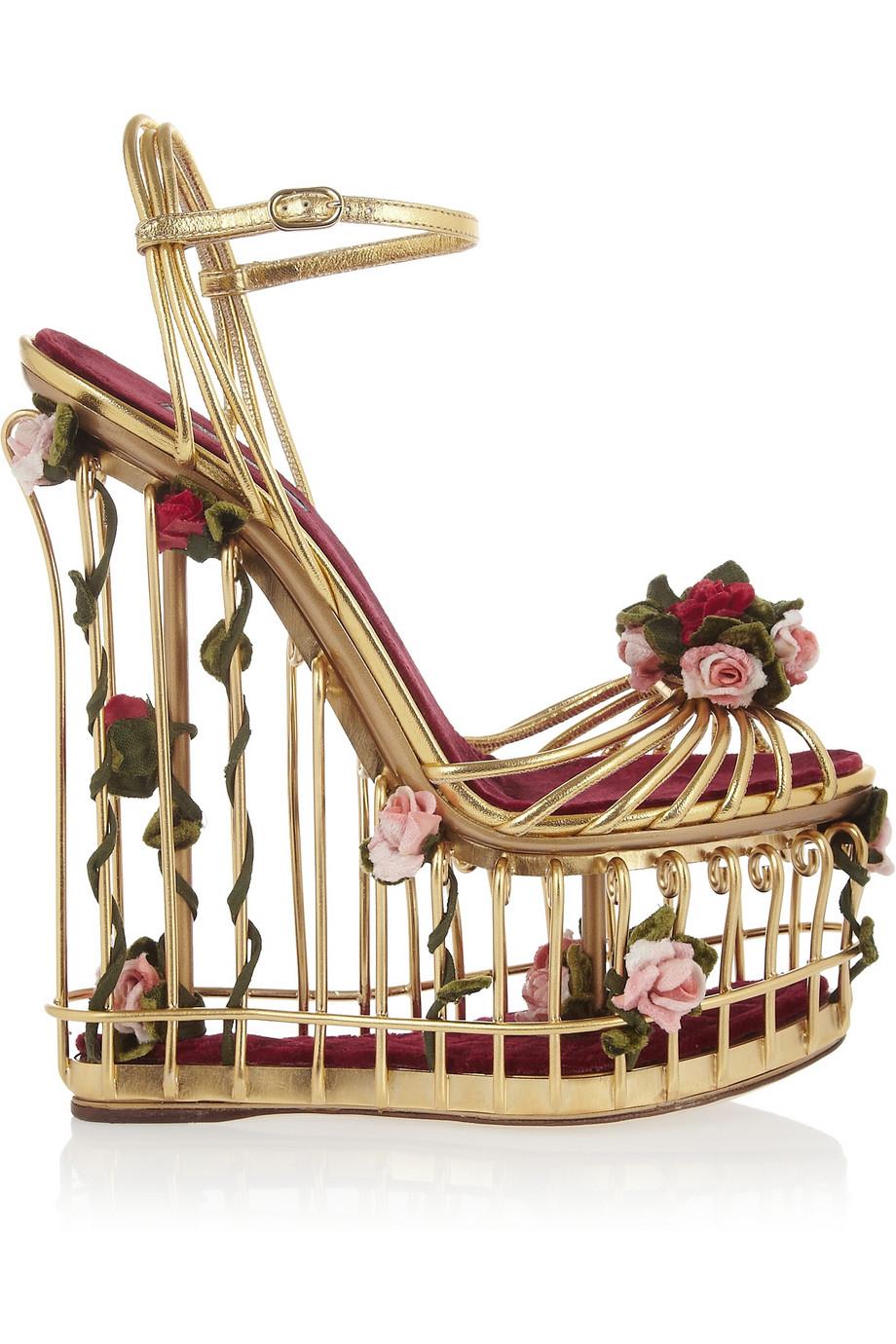 Lyst Dolce Amp Gabbana Roseembellished Metallic Leather