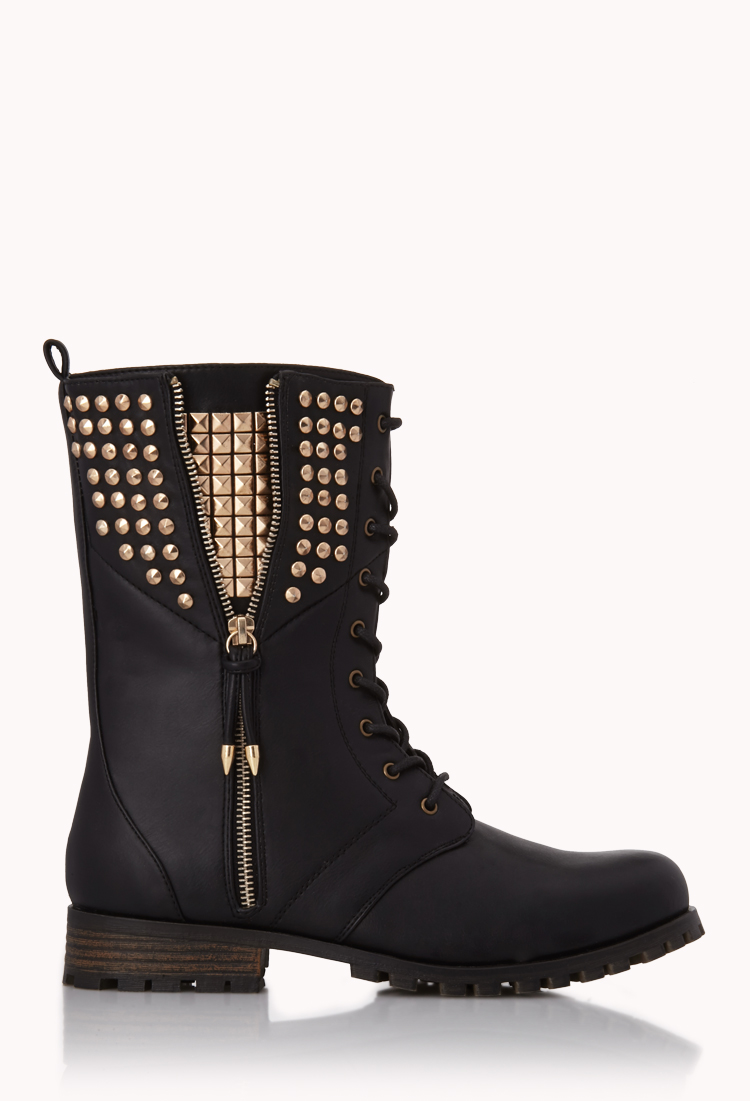 Forever 21 Rocknroll Combat Boots In Black Lyst