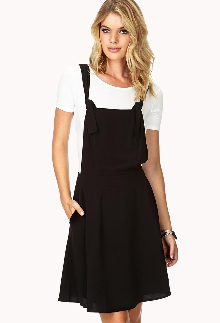 Forever 21 Contemporary Sleek Skater Overall Dress in Black | Lyst