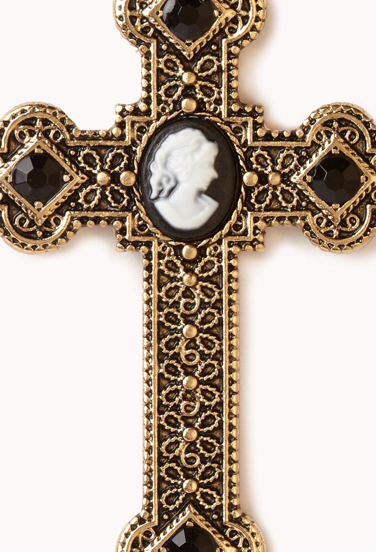 Forever 21 baroque cameo cross earrings in metallic lyst for Forever 21 jewelry earrings