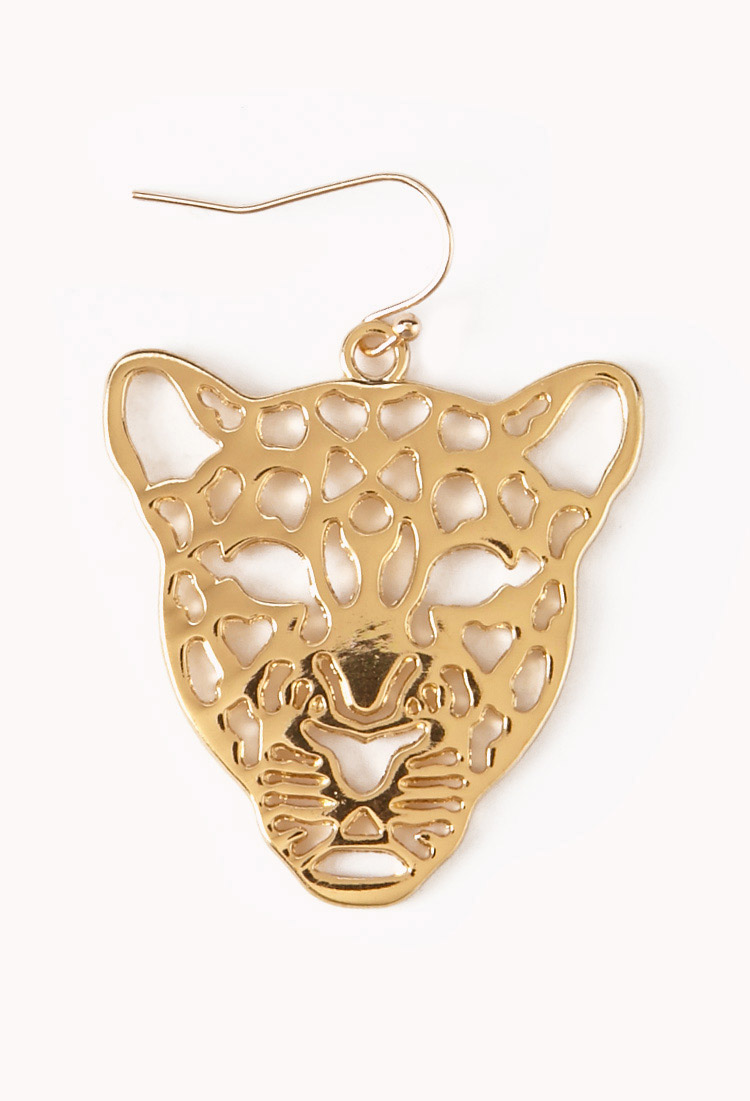 Lyst forever 21 cutout jaguar earrings in metallic for Forever 21 jewelry earrings