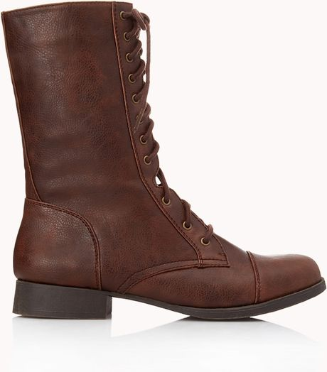 forever 21 everyday combat boots in brown light brown lyst
